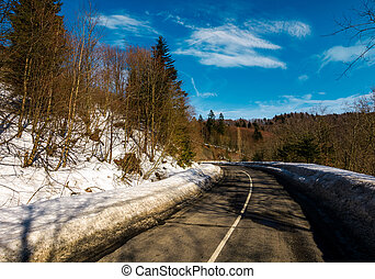 turnaround on the mountain road in winter