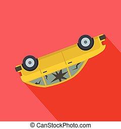 Turned car icon, flat style