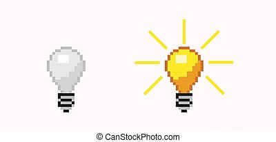 Turned off and on pixel bulb. Luminous orange and white energy free light lamp.
