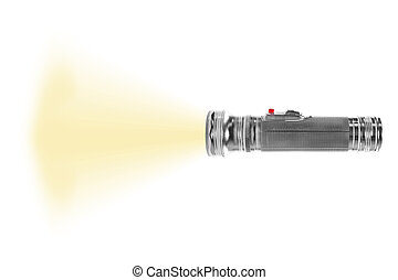 turned on metal flashlight isolated on white