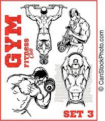 turnhalle, bodybuilding, -, fitneßklub
