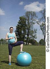 turnhalle, fitness, frau, gesunder lebensstil, begriff
