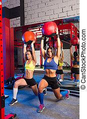 turnhalle, frauen, belasteb, kugel, workout, übung