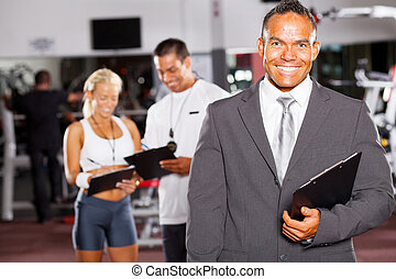 turnhalle, manager, trainer, glücklich