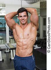 turnhalle, mann, muskulös, posierend