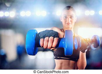turnhalle, start, determinated, fitness, bereit, lektion, m�dchen