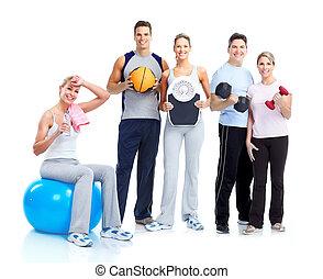 turnhalle, und, fitness., lächeln, leute.