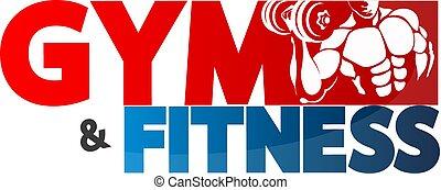 turnhalle, und, fitness, symbol