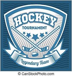 turnier, logotype, championship., emblem, t-shirt, schablone, hockey, mannschaft, kleidung, logo, template., sport, abzeichen, oder, design.