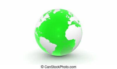 Turning 3D Globe in Transparent Gre - a turning green 3D...