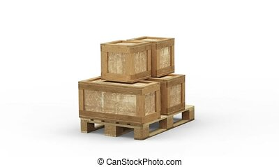 Turning around a Wood Pallet partially loaded with different...