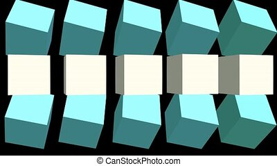 Turning cubes with color changing on black background, 3d render animation, video background for advertisement