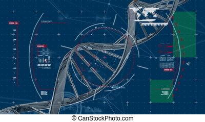 Turning DNA strand on dark blue background