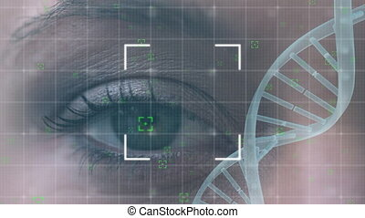 Turning DNA strand with eye in the background
