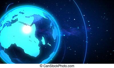 TURNING GLOBE AND LUMINOUS RAY