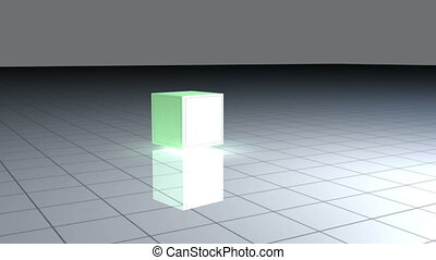 Turning green cube on a grid with animated graphics