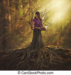Turning into a tree - A woman reading a book and turning...