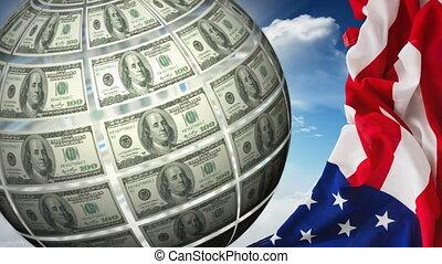 Turning Money Globe and american flag