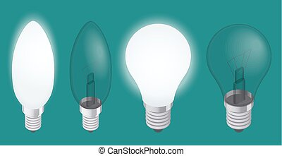 Turning on and off a light bulb. Set of Realistic Incandescent Light Bulb vector illustration