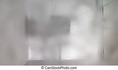 Turning on modern shower - Slow motion of turning on and off...