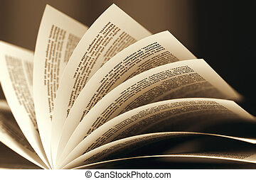 Image of a book with turning pages in sepia color scheme. Might be useful for education, litarature, wisdom illustrating purposes.