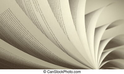 Book pages with random English words / sentences. Seamless Loop, depth of field, sepia toning.