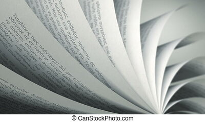 Book pages with random Greek words / sentences. Seamless Loop, depth of field.