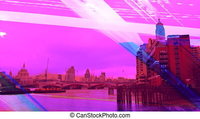 turning panormaic view of london skyline, including the...