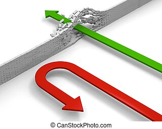 Turning point - Red arrow breaking through obstacle while...