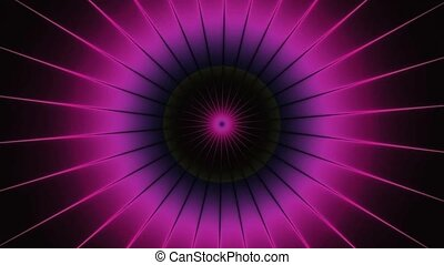 Turning purple pink shinning neon spike discs on dark background. Rich outlined stroke. Seamless ornate design. Dazzling circle sphere energy field