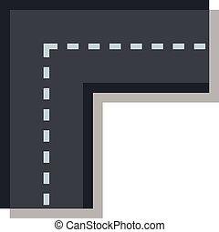 Turning road icon, flat style
