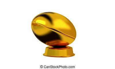 Rugby trophy in Gold with white background