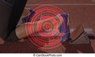 Turning scope scanning with woman on starting blocks - ...