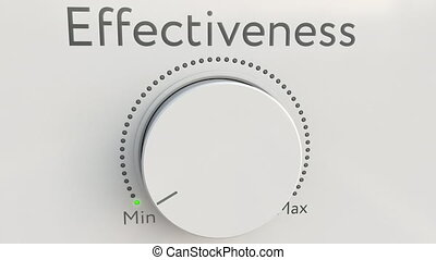 Turning white hi-tech knob with effectiveness inscription from minimum to maximum. Conceptual 4K clip