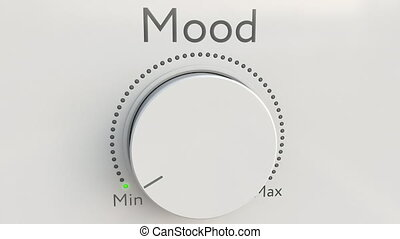 Turning white hi-tech knob with mood inscription from minimum to maximum. Conceptual 4K clip