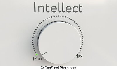 Turning white hi-tech knob with intellect inscription from...