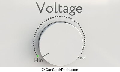 Turning white hi-tech knob with voltage inscription from minimum to maximum. Conceptual 4K clip