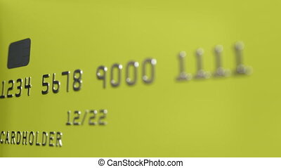 Close-up shot of turning yellow credit cards