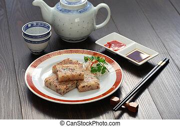 turnip cake, chinese dim sum dish - turnip cake, daikon...