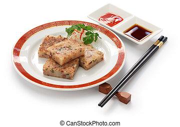 turnip cake, chinese dim sum dish - turnip cake, daikon cake...