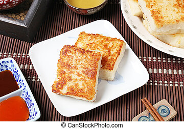 Turnip Cake - Steamed turnip cake, Chinese food.