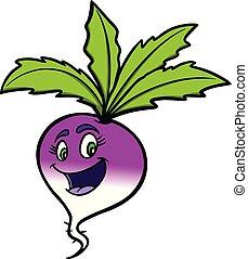 Turnip Cartoon - A cartoon illustration of a Turnip mascot.
