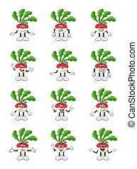 turnip set cartoon character illustration isolated on white background