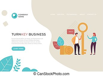 Turnkey business service banner poster web page concept. ...