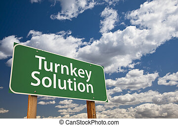 Turnkey Solution Green Road Sign Over Sky - Turnkey Solution...