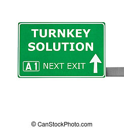TURNKEY SOLUTION road sign isolated on white