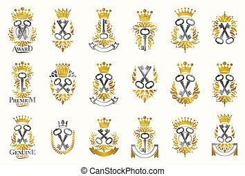 Turnkeys secrets emblems vector emblems big set, keys ...