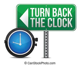 turno, roadsign, indietro, orologio