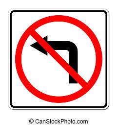 turno, sinistra, segno, strada, non faccia