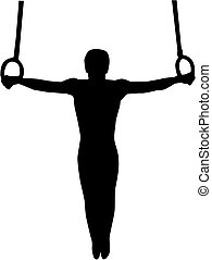 turnoefening, atleet, op, turnoefening, ringen